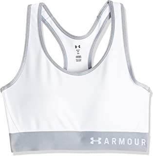 Under Armour Women's Mid Keyhole High Support Sports Removable Cups, Light & Breathable Running Bra, White/Steel/Metallic ...
