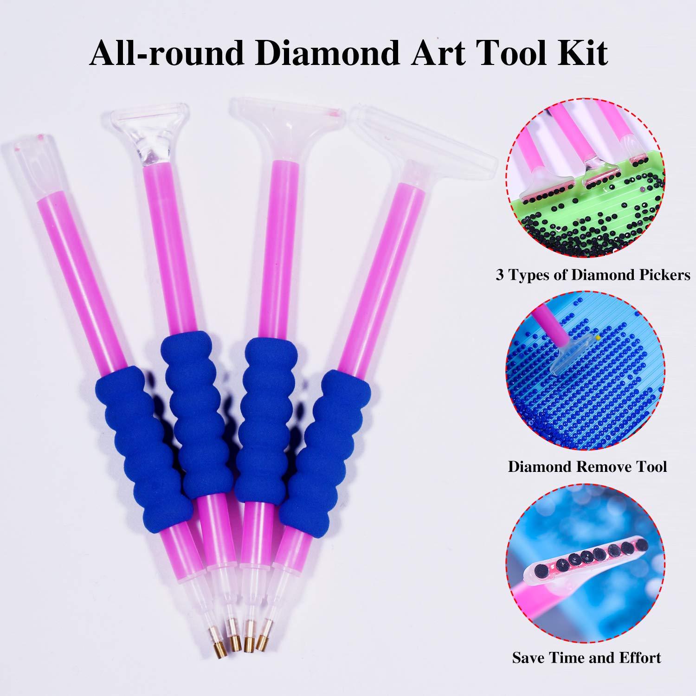 MirFreyr Diamond Painting Accessories Kits 77 Pieces Diamond Painting Tools Storage Box with Diamond Painting Pens Roller Tray
