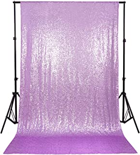B-COOL Sparkly Sequin Fabric Photography Lavender Backdrop Curtain 4ftx7ft Sequin Drapes for Weddings Party Decoration Christma Background