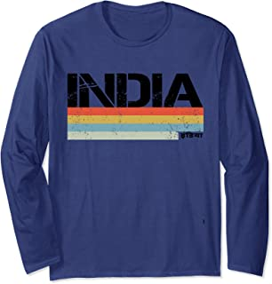India & Indian Retro Vintage Stripes Long Sleeve T-Shirt