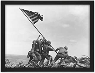 Rosenthal Raising Flag Iwo Jima Iconic WWII Photo Artwork Framed Wall Art Print 18X24 Inch