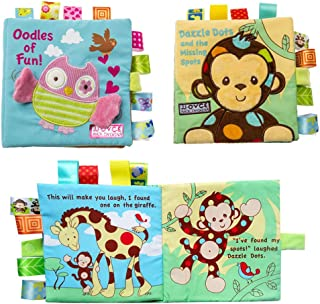 Hillento 2 Packs Non-Toxic Soft Fabric Baby Cloth Books Early Education Toys Activity Crinkle Animal Cloth Book for Toddler, Infants and Kids, Perfect for Baby Shower, Monkey and Owl