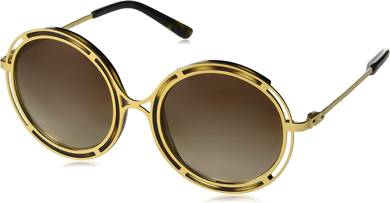 Ralph by Ralph Lauren Women's 0rl7060 Round Sunglasses, Sanded gold Dark Havana, 53.0 mm