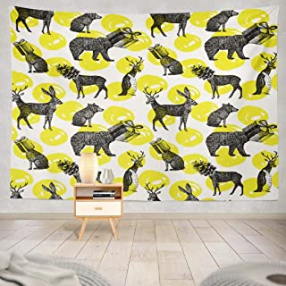 Deronge Animals Tapestry, Christmas Black Ink Xmas with Winter Animal Tapestry Wall Hanging Decor 50x60 Inch Wall Art Tapestry for Men Bedroom Home Decor Decorative Tapestry Dorm Decor,White