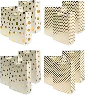 UNIQOOO 12Pcs Premium Assorted Gold Foil Metallic Gift Bags Bulk, Large 12.5x10.5X4 Inch,100% Recyclable Paper Ribbon Handle, for Christmas Wedding, Birthday Party,Retail Shopping Wrap Bag Idea