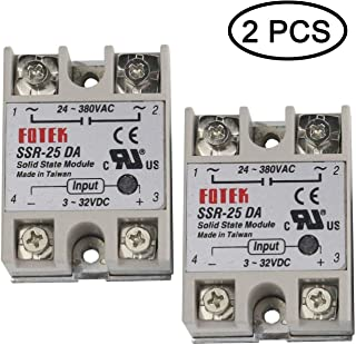 TIHOOD 2PCS SSR-25DA Solid State Relay Module Light Gray 25A AC 3-32V 24-380V (SSR-25DA)