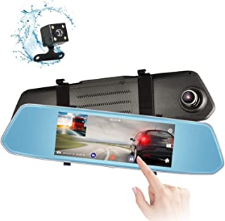 Eagle Eye Mirror Dash Cam 7 Touch Screen 1080P Rearview Front and Rear Dual Lens Night Vision Reverse Camera Parking Assist