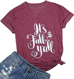 تي شيرت It's Fall Y`All برقبة على شكل حرف V تيشيرت عيد الشكر للنساء مضحك عليه Pumpkin Spice Everything Fall