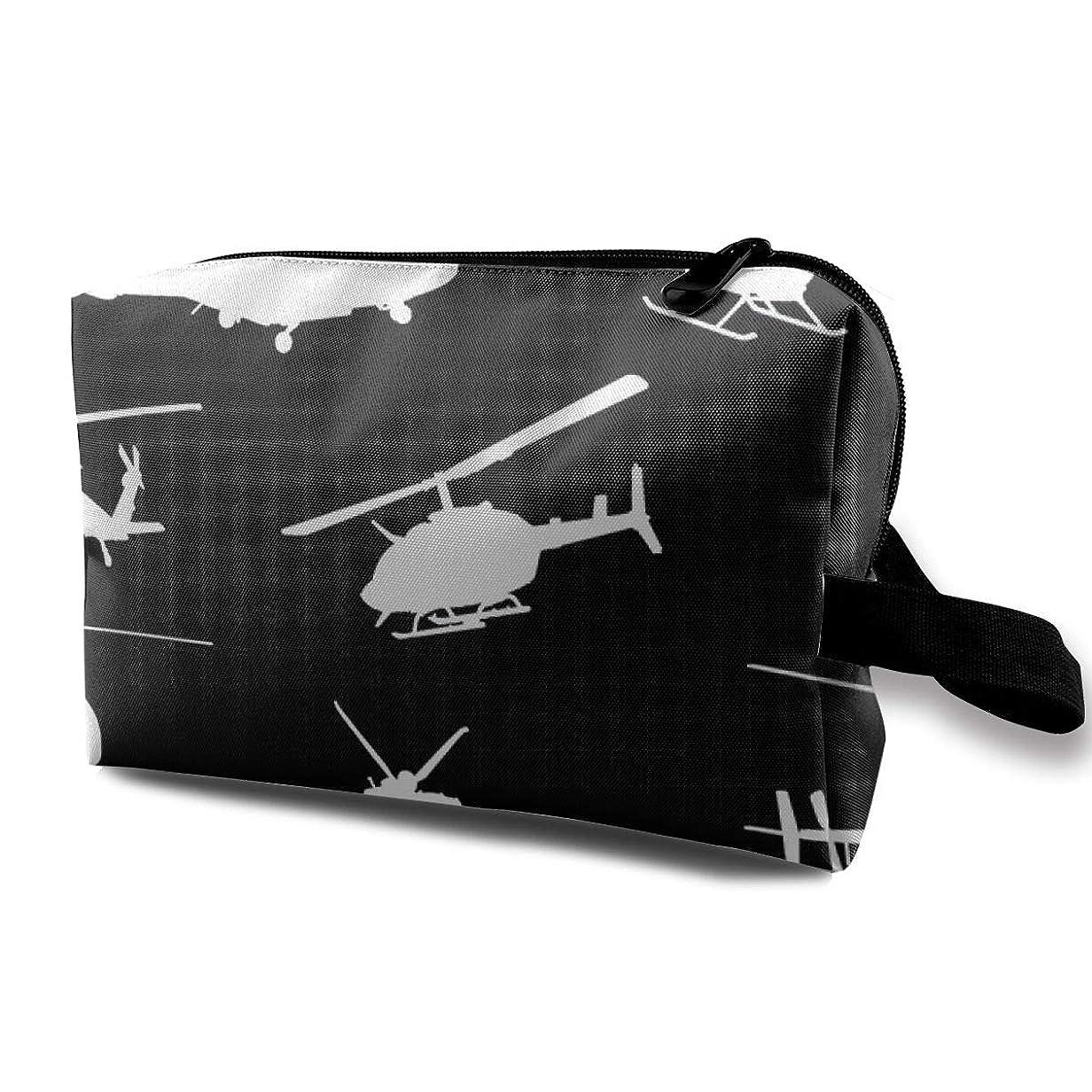 画家クックモニター化粧ポーチ コンパクトサイズ,黒いSmall_3779のオックスフォードの布の多彩な袋の小型旅行のヘリコプターのシルエット
