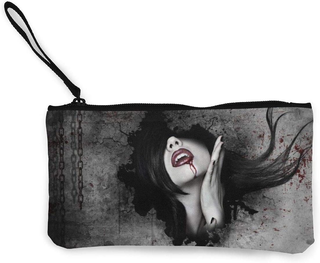 Womens Slim Wristlet Clutch Wallet Dark Fantasy Gothic Women Vampires Blood Face Clutches Purse Wristlet Bag Phone Purse Handbag - Compact Handbag Wallet Case with Wrist Strap Zipper