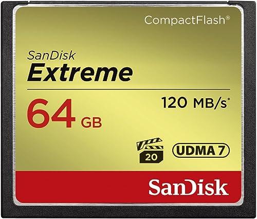 SanDisk Extreme 64GB CompactFlash Memory Card (SDCFXSB-064G-G46),Black