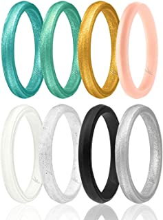 Silicone Wedding Ring for Women, Affordable Thin Line and Point Stackable Silicone Rubber Wedding Bands, 8, 4 & Single Packs