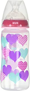 NUK Trendline Bottle with Silicone Medium Flow Nipple, 0+ Months, Color May Vary, 10 oz