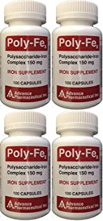 Polysaccharide Iron Complex 150 mg Capsules Iron Supplement 100 Capsules per Bottle Pack of 4 Total 400 Capsules