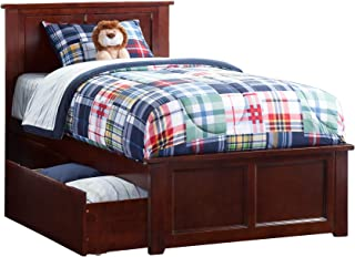 Atlantic Furniture Madison Platform Bed with Matching Foot Board and 2 Urban Bed Drawers, Twin XL, Walnut