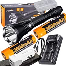 Fenix TK47UE Ultimate Edition 3200 Lumen LED Tactical Flashlight w/2 x 2600mAh Batteries, are-X2 USB Charger, and Battery case,car Charger