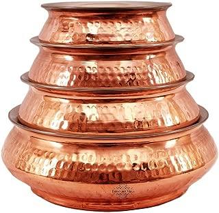 IndianArtVilla Handmade Best Quality Set of 4 Steel Copper Mughlai handi serving Dish Platter Restaurant Ware Hotel Ware Home
