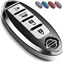 Uxinuo Compatible with Nissan Key Fob Cover Case for Nissan Altima Maxima Armada Murano Gt-r Sentra Rogue Pathfinder Smart Remote 4 Buttons, Premium Soft TPU Full Protection Key Cover, Silver