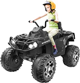 Kuntai Electric Kids ATV, 12V Battery Powered Kids 4-Wheeler ATV Quad, Electric 4-Wheeler for Kids with LED Headlights, Music and MP3, High/Low Speed Black
