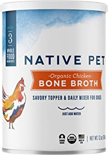 Native Pet Organic Bone Broth for Dogs and Cats - Human Grade Protein Powder & Rich Source of Collagen for Dogs - Food Mix...