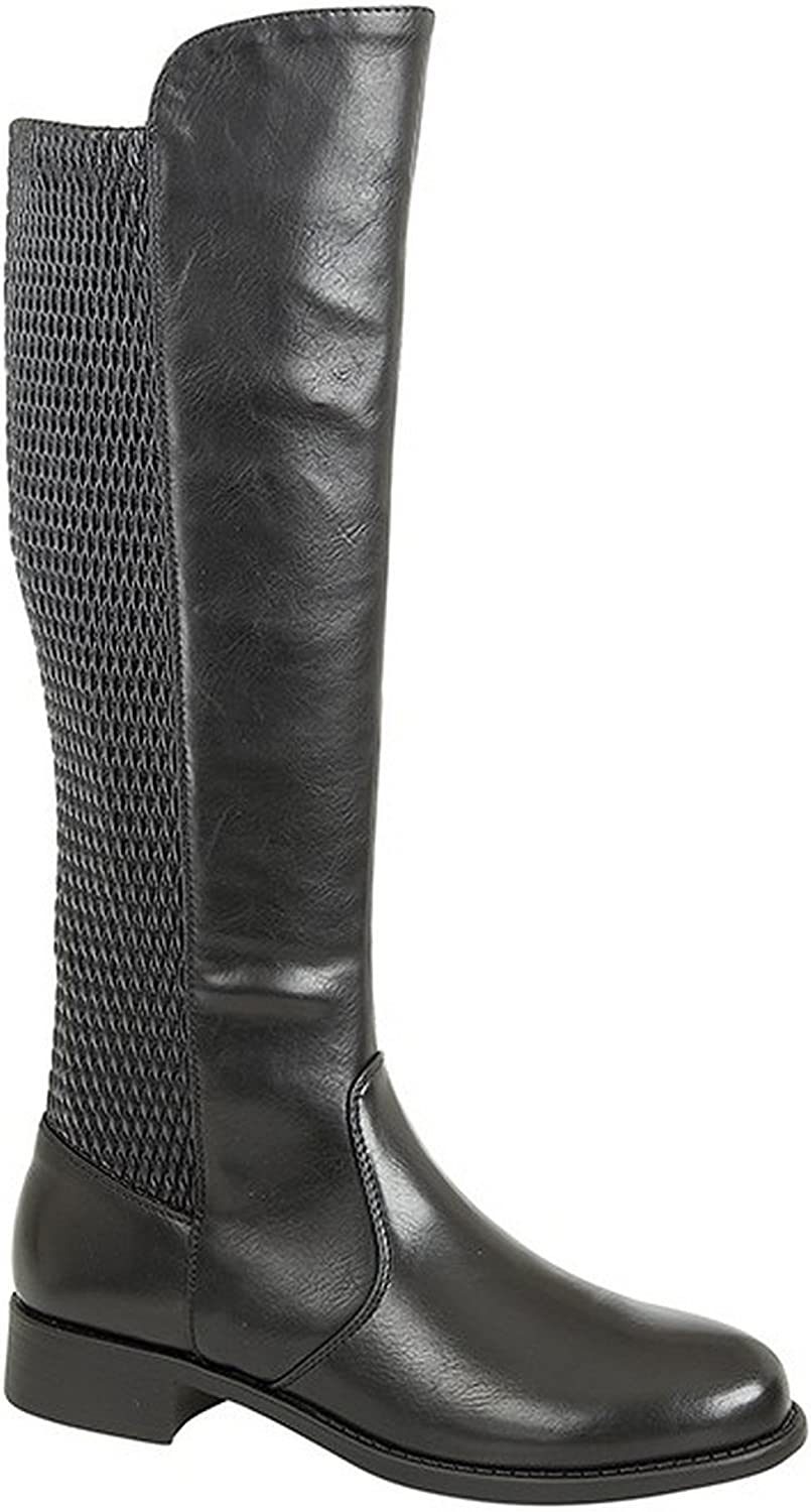 Cats Eyes Womens Ladies Elasticated Calf High Leg Boots