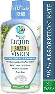 Liquid 20/20 Vision - Eye Vitamin Formula w/20mg Lutein, 4mg Zeaxanthin, 4mg Astaxanthin for Vision Support –Max Absorption- Great Taste & No Pills to Swallow– 32 Serv, 32oz