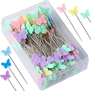 DELFINO 2.16 Inch Sewing Pins Flat Head Straight Pins Butterfly Head Sewing Pins Straight Quilting Pins for Sewing DIY Pro...