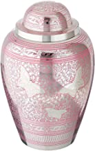 Cremation Urn for Human Ashes Adult - Brass Funeral Urn for Women - Metal Hand Engraved Silver Butterfly Large Urn for Adults - Display Burial At Home or in Niche at Columbarium ( Pink Butterflies