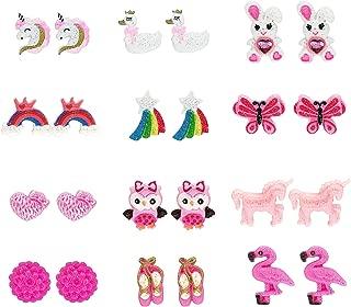 Elesa Miracle Kids Little Girl 12 Pairs Flamingo Mermaid Unicorn Clip on Earrings Value Set