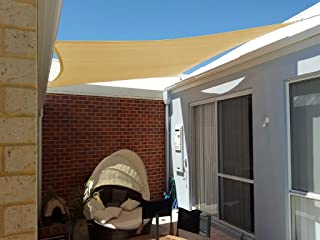 Shade&Beyond Rectangle Sun Shade Sail for Patio Lawn Deck Garden Pergola (12'x12', Sand)