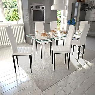 UnfadeMemory Conjunto de Mesa y Sillas de Comedor Cocina,Muebles de Comedor,Sillas de Cuero Artificial,Mesa de Vidrio Templado (7 Pzas, Blanco y Transparente)