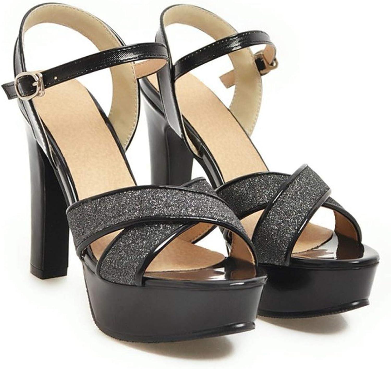Summer Rome High Heel Sandals Open Toe Sequin Thick Heel Waterproof Platform Women's shoes,3,6