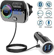 Upgrade Transmisor FM Bluetooth 5.0 Coche Manos Libres con 7 Colores Luz, Reproductor MP3 Coche Carga Rapida QC3.0, 2 USB 5V/3A&2.4A Inalámbrico Kit de Coche Soporte Tarjeta TF 32 G, AUX, SIRI/Google
