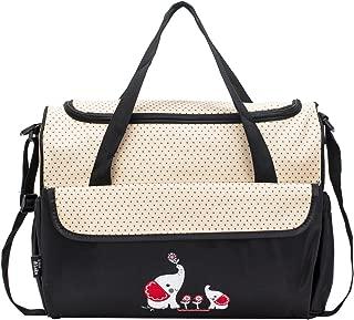 SoHo Animals Diaper Tote Bag 10Pc, Elephants Black