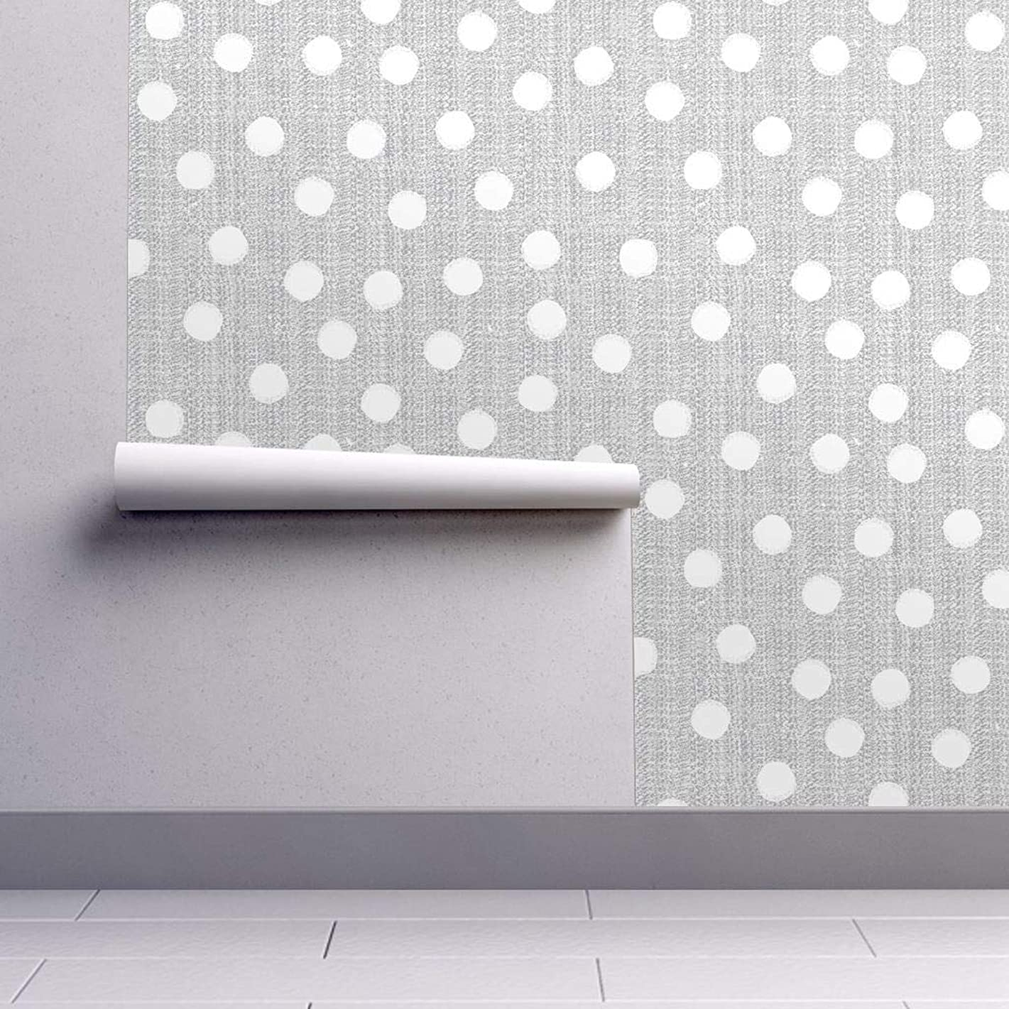Peel-and-Stick Removable Wallpaper - Gray and White Dot Gray Dotted Nursery Decor Dots Gray Polka Dots by Ottomanbrim - 12in x 24in Woven Textured Peel-and-Stick Removable Wallpaper Test Swatch