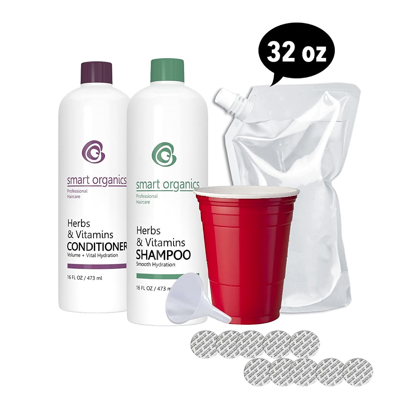 Hidden Flask - Shampoo and Conditioner Set - Includes 2 16 oz Bottles, Funnel, 10 Seals, and 1 Free 32 oz Cruise Flask - Sneak Alcohol Anywhere - Sporting Events, On a Cruise or Glass Restricted Areas