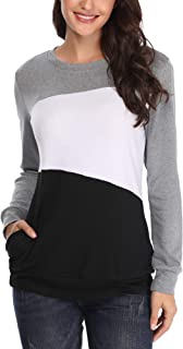 MSBASIC Women's Long-Sleeved Colour Block T Shirts Pullover Sweatshirt with Pockets
