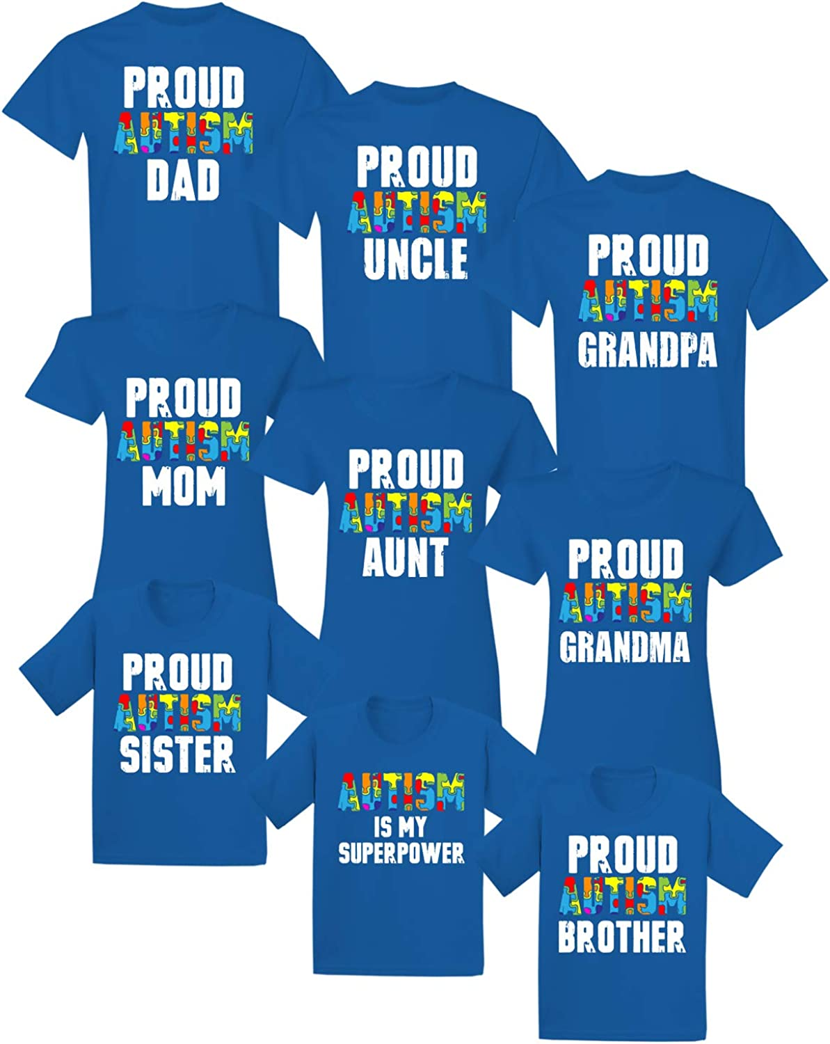 Autism Family Matching Shirts Proud Mom Dad Uncle Aunt Grandpa Grandma Kids Puzzle Novelty Tees Mom Shirt 2XL Blue