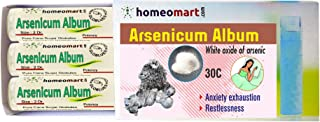 Homeopathy Arsenicum Album 30C Pills for Anxiety, Exhaustion, Restlessness. Pack of 3 in sterile Glass vials