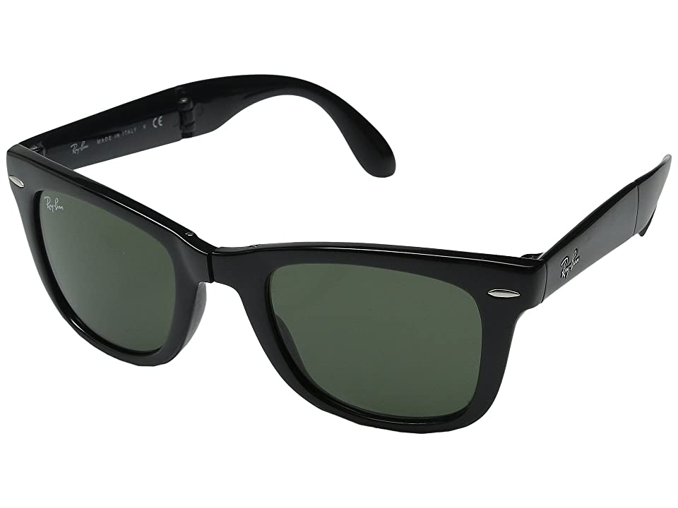 Ray-Ban RB4105 Wayfarer Folding 50mm (Black/G-15xlt Lens) Plastic Frame Fashion Sunglasses