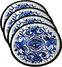 Wehous Coasters for Drinks,Blue and White Porcelain,Vintage Ethnic Floral Design Place mat Value Pack, 4 pcs/Set, 5.12/13cm