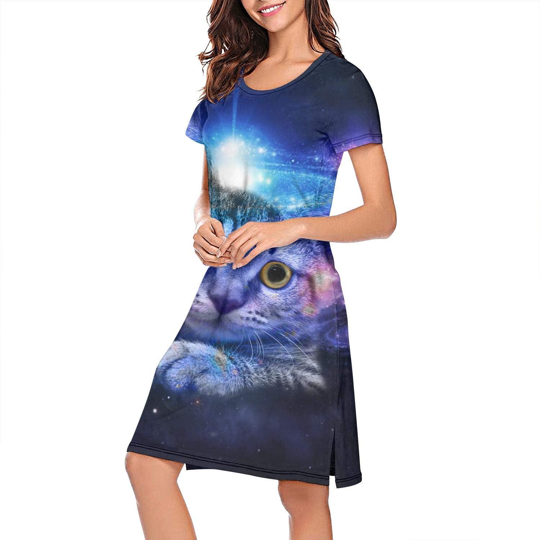 ZWEN Womens Bengal Cat Galaxy Nightgown Stylish Nightdress Fashion Sleep Shirt
