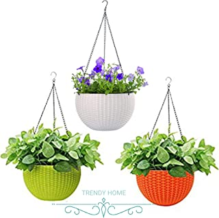 Trendy home Hanging Planters Plastic Pots Sanitized with Hanging Chains Euro Baskets (Tricolor)