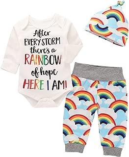 Newborn Infant Baby Boy Girl Outfits Letter Print Romper + Cloud Rainbow Pants + Hat Clothes Set