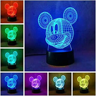 Amroe Mickey Mouse Night Light for Kid Baby Party Supplier Cartoon LED Desk Table Lamp 7 Color Change Remote Control USB Base Battery Power Birthday Children Day Gift