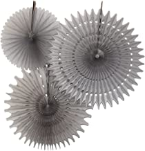 product image for Set of 3 Honeycomb Tissue Fans, Gray (13-21 Inch)