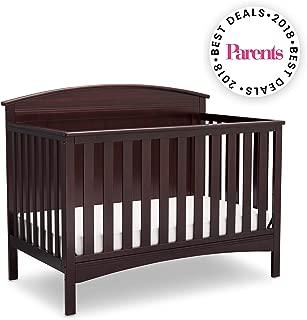 Delta Children Archer Solid Panel 4-in-1 Convertible Baby Crib, Dark Chocolate