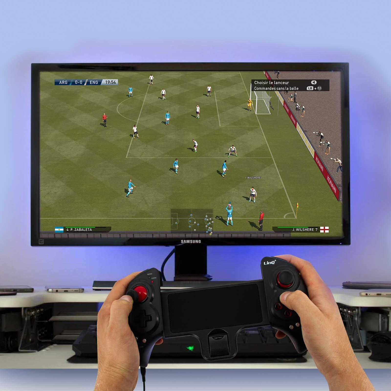 LinQ - Mando inalámbrico extensible para videojuegos con Bluetooth, conexión con cable, autonomía de 10 horas, brazo ajustable de 12 a 26,5 cm, compatible con smartphone/tableta/Android TV, TV Box, Smart TV y