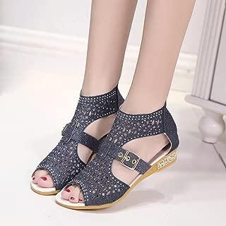 Hemlock Wedge Sandal, Women's Flat Sandals Shoes Pump Sandals (US:7, Black)