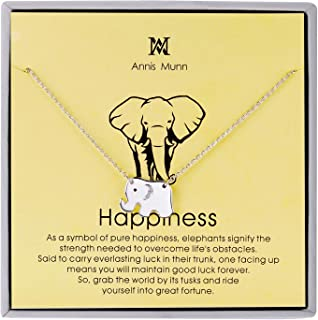 Annis Munn Good Luck Necklace - 925 Sterling Silver Elephant Pendant Necklace Christmas Day Jewelry Birthday Gift for Girls and Women